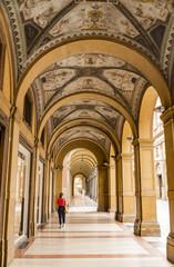 Beautiful decorative arcade, portico, in Bologna, Italy