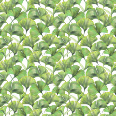 Seamless pattern with green leaves of ginkgo biloba. Hand drawn illustration with colored pencils. Botanical natural design for textiles, interior or some background.