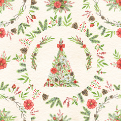 Seamless pattern with Christmas tree, branches, flowers, berries, cones, twigs and floral round compositions isolated on beige paper texture  background. Watercolor hand drawn illustration