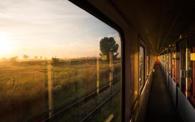 Beautiful sunrise on the vintage train