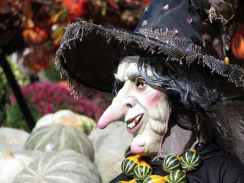 Scary Halloween witch on a pumpkins background. Halloween decorations, autumn holiday