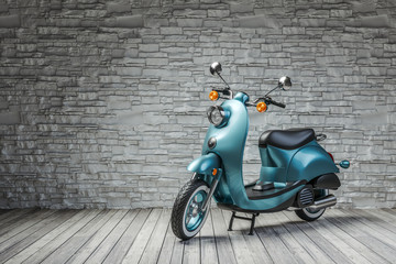 Retro scooter in room on brick wall background