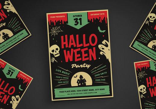 Retro Halloween Party Flyer Layout