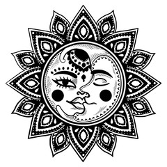 Sun and moon ethnic vintage vector illustration