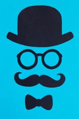 Male silhouette pattern. November concept. Funny retro face