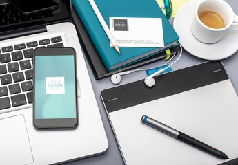 Smartphone and Business Card on Desk Mockup