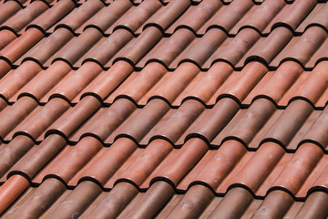 Closeup of Beautiful, Red, Spanish Tile Roofs in Downtown Granada, Nicaragua