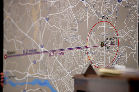 Rachel Mitchell, the chief of the Special Victims Division of the Maricopa County attorney's office in Arizona, uses a map of the area around the Columbia Country Club while questioning Christine Blasey Ford in Washington