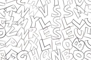 Abstract alphabets letters. Canvas, shape, set & details.