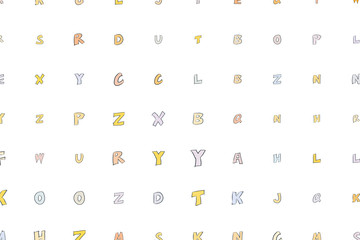 Abstract alphabets letters. Typography, pattern, template & repeat.