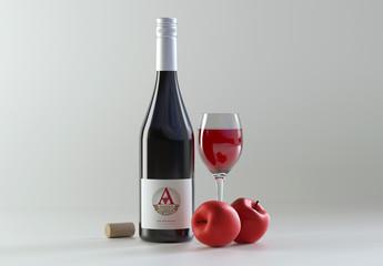 Wine Bottle Mockup near Apples