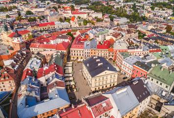 Lublin z lotu ptaka. Stare miasto w Lublinie, widok z powietrza na Stary Trybunał Koronny.