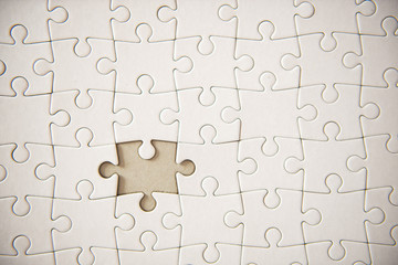 Connected blank puzzle pieces isolated