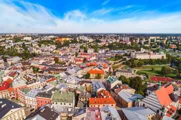 Obraz Lublin z lotu ptaka. Lublin stare miasto widziane z powietrza. Turystyczna część miasta. - fototapety do salonu