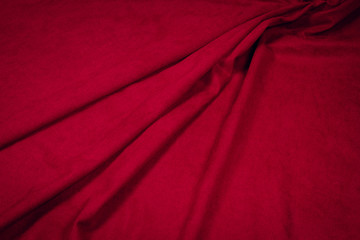 Fabric costume cotton red. Texture of fabric.