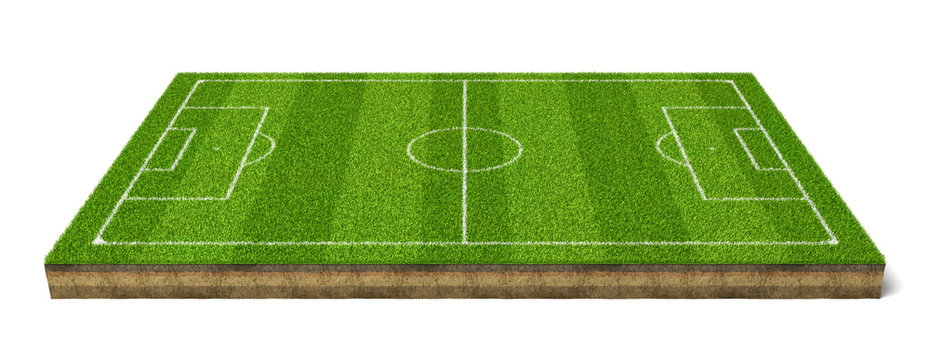 3d rendering of a grass sport field with white lines marking the game positions.