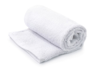 Rolled up white terry towel