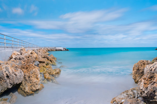Sea scape,Long exposure shot.Sea scape in West Palm Beach, Florida,beach