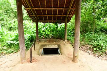 Cu Chi, Socialist Republic of Vietnam - august 16 2018 : the Cu Chi Vietcong camp