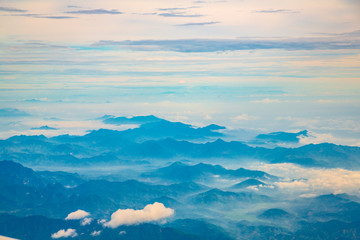 Aerial view of mountains Lined up like a sea of mountains.
