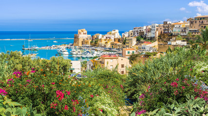 Wall Mural - Sicilian port of Castellammare del Golfo, amazing coastal village of Sicily island, province of Trapani, Italy