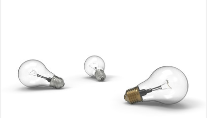 Light bulbs Groups creativity isolated on background / 3 Render