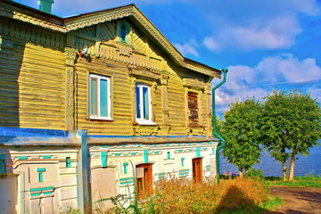 An old traditional brick-wooden house. Kostroma, Russia.