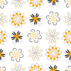 Gold and grey flower circles seamless pattern. Modern design great for invitations, fabric, wallpaper, giftwrap. Surface pattern design.