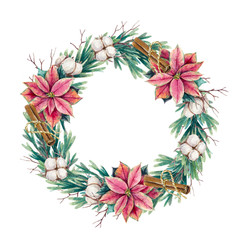Watercolor holiday wreath of fir with poinsettia flowers, cotton branches and cinnamon on a white background