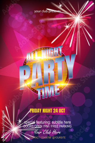 festival poster template with spotlights bokeh concert party