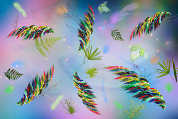 Abstract image: multicolored feathers and leaves of plants