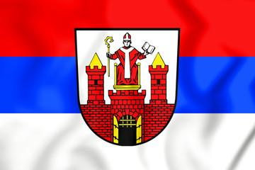 3D Flag of Wittstock (Brandenburg), Germany.