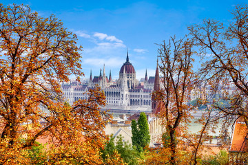 Autumn Budapest, beautiful view of the Danube embankment and the Hungarian Parliament.