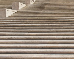 A close up view of the famous Spanish steps in Rome, Italy. Stair climbing concept image.