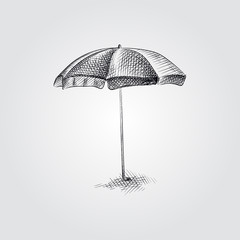 Hand Drawn Beach umbrella Sketch Symbol isolated on white background. Vector beach elements art highly detailed In Sketch Style. Summer items vector illustration.