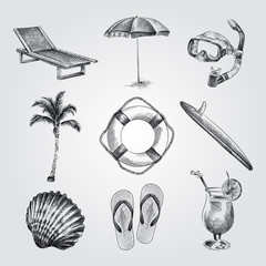 Hand Drawn Summer set sketches. Vintage vacation collection with Summer items. Big beach set of Chaise-longue; mask for diving; Beach umbrella; flip flops; surfboard; Lifebuoy sketches.