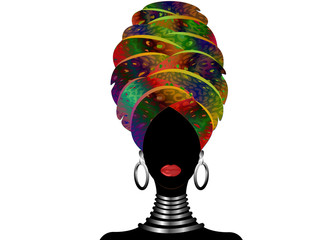 Portrait of the young black woman in a turban. Animation African beauty. Vector color illustration isolated. Traditional Kente head wrap Afro. Print Leopard color pattern headscarf. Hairstyle concept
