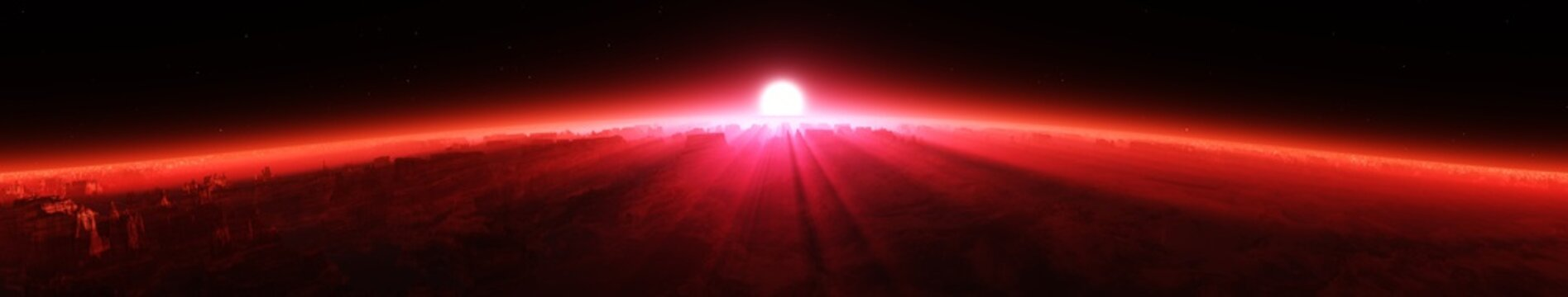 The red planet, the sunrise of the star,