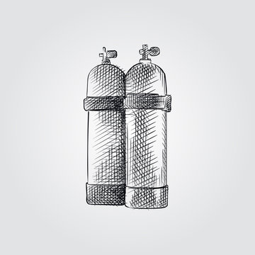 Hand Drawn air tank for diving Sketch Symbol isolated on white background. Vector diving element art highly detailed In Sketch Style. Summer items vector illustration.