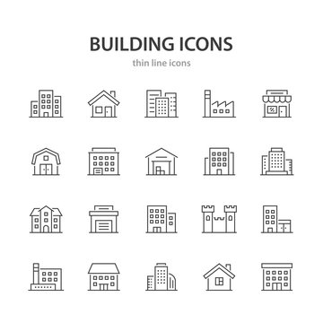 Building line icons.