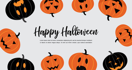 Website spooky header or banner with Halloween pumpkins. Poster, banner or background for Trick or Treat Halloween Party with scary pumpkins.