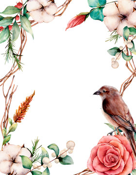 Watercolor vertical card with bird and flowers. Hand painted tree border, cotton, branch, dahlia, berries and leaves, lagurus isolated on white background. Illustration for design or background.