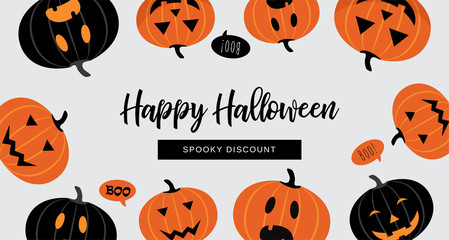 Halloween Sale banner. Website spooky header or banner with Halloween pumpkins. Great for banner, voucher, offer, coupon, holiday sale.