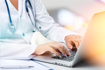 Doctor computer hospital banner laptop technology healthcare