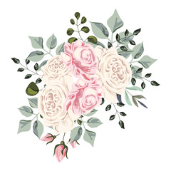 Bouquet of roses on the white background, Vector pastel watercolor illustrasion