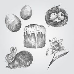 Hand Drawn Easter Set. Collection Of Easter cake, rabbit, eggs, quail eggs, narcissus Sketches on white background. Easter vintage vector illustrations set.