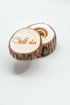 Wedding rings on a wooden box