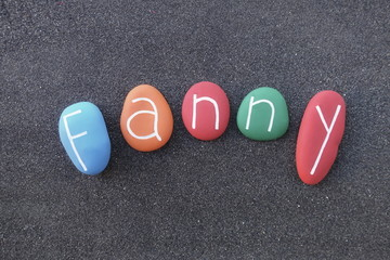 Fanny, feminine given name composed with multi colored stones