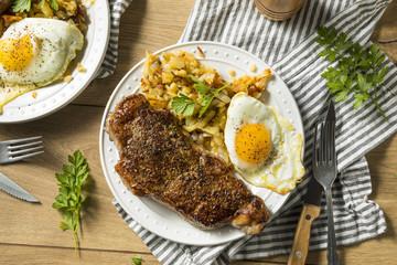 Wall Mural - Homemade Steak and Eggs Breakfast