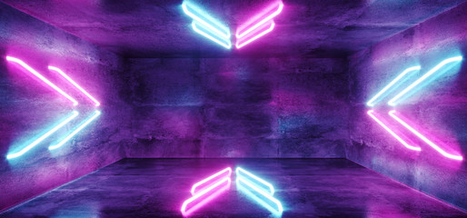 Futuristic Sci-Fi Modern Spaceship Club Party Dark Concrete Room With Arrow Shaped Blue And Purple Glowing Neon Tubes 3D Rendering